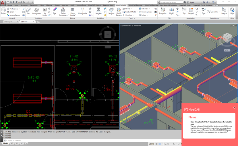 Working with MagiCAD 2019 UR-2 for autocad 2019