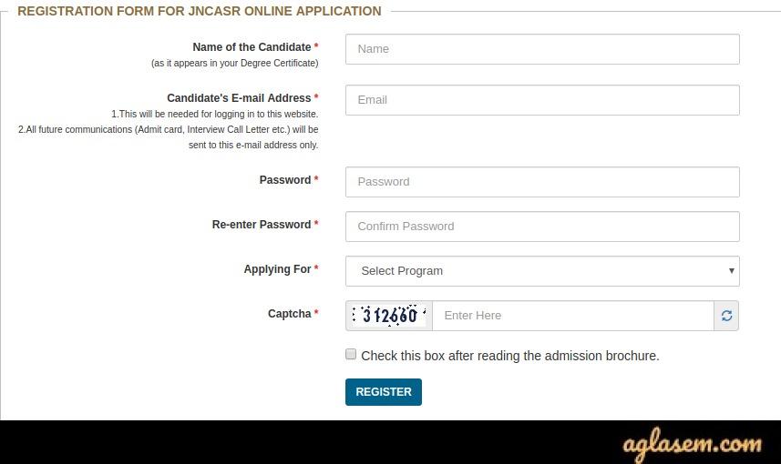 JNCASR 2020 Application Form