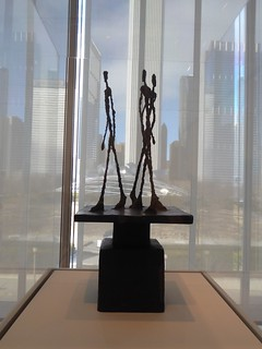 Chicago, Art Institute, Sculpture with Downtown Chicago View (Sculptor: Alberto Giacometti)