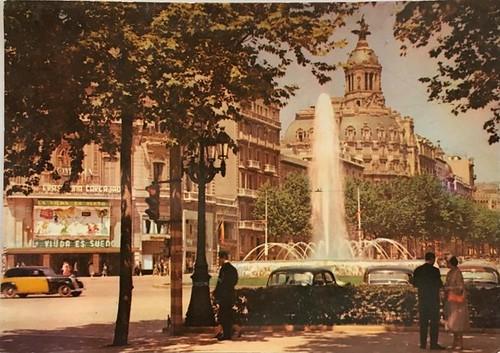 confluència passeig de Gràcia amb la gran via de les Corts Catalanes 1960