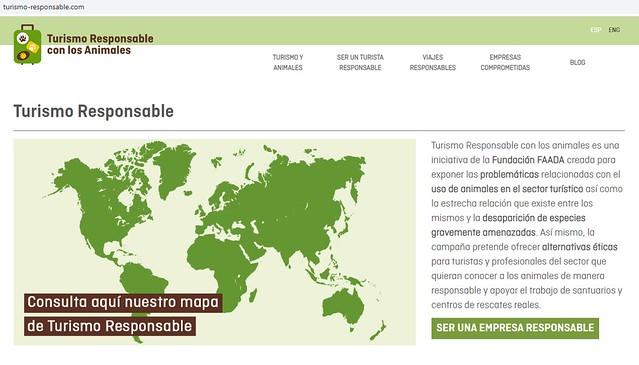 Pantallazo de la web de la Fundación FAADA sobre turismo responsable con animales
