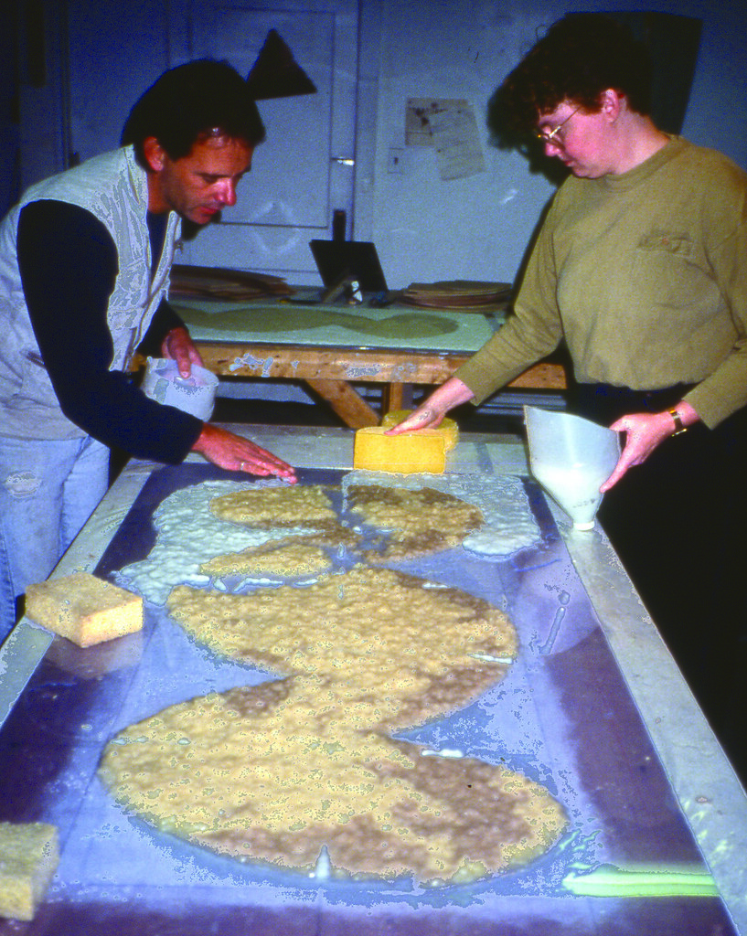 arranging paper pulp during Dann Nardi project
