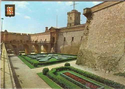 postal castell de Montjuïc escudo de oro 1960