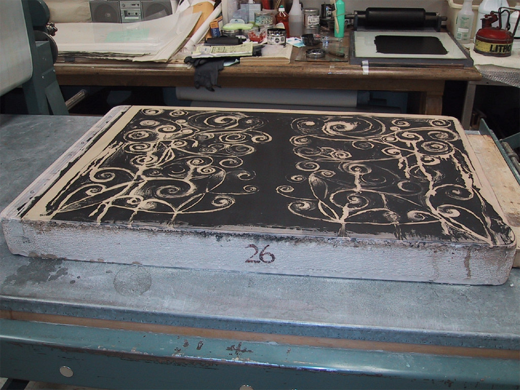 image on one stone in of the collaborative print project