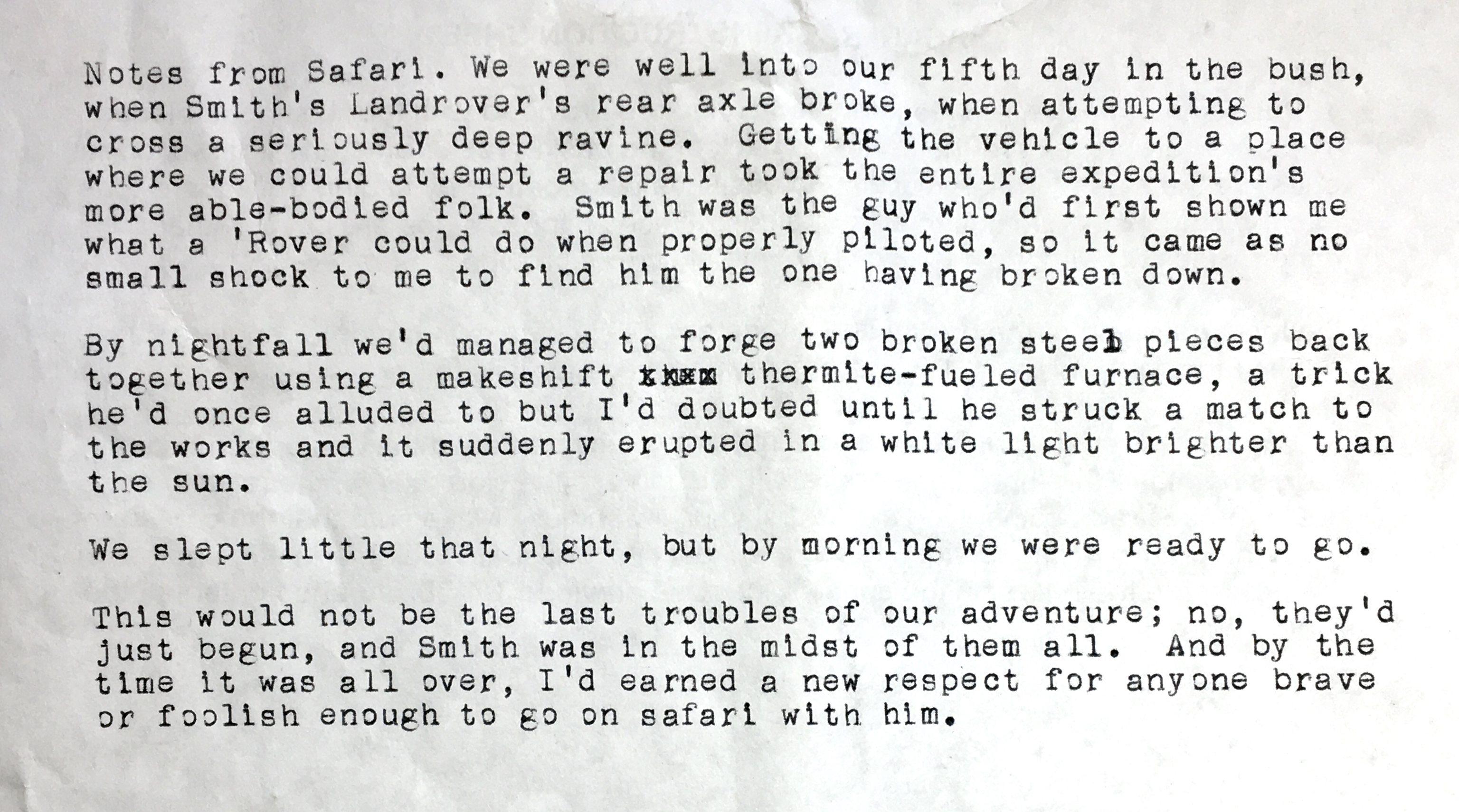 Notes From Safari