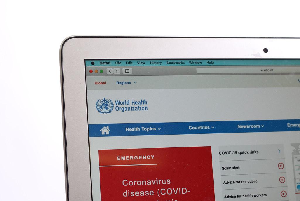 WHO World Health Organization website on a computer screen