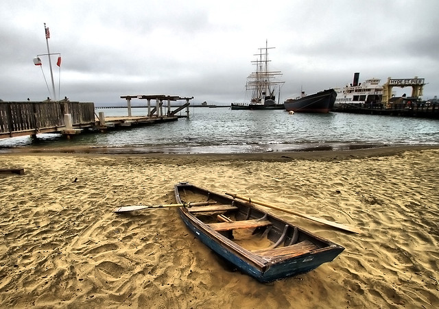 Boat on the beach in San Francisco, California