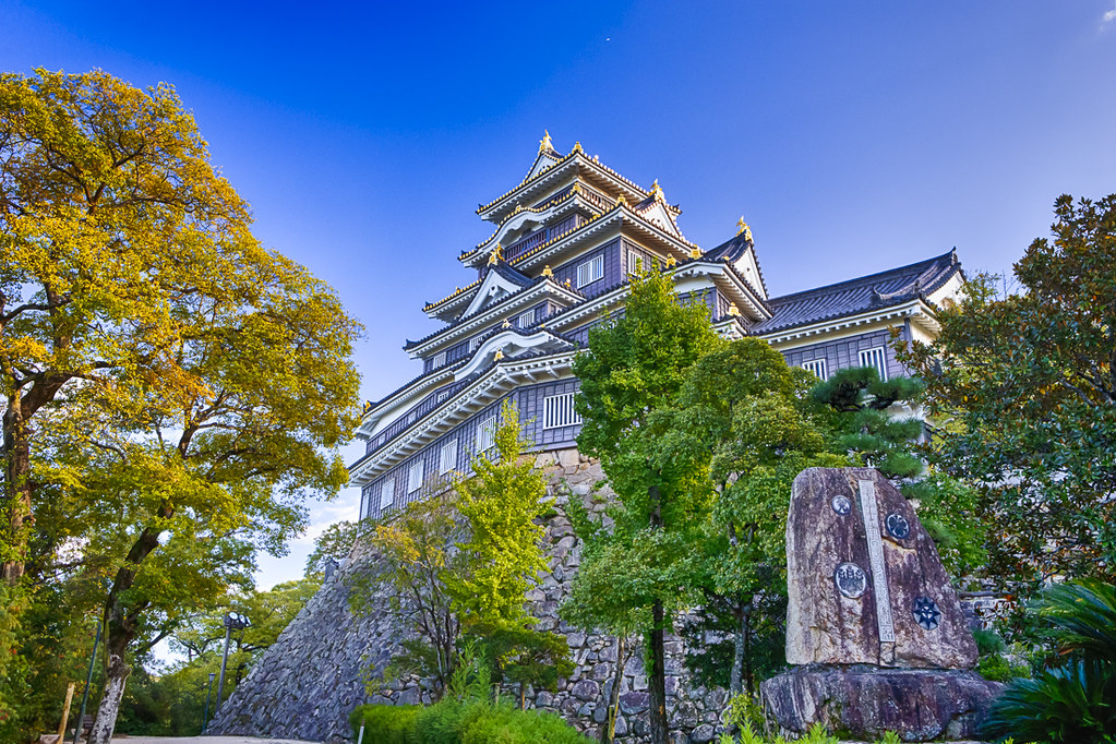 Famous Okayama Crow Castle or Ujo Castle in Okayama City on the Asahi River in Japan. With Maple Tree On Foreground.