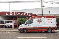Marilia, Sao Paulo, Brazil, september 20, 2019. Ambulance parked in front of a SAMU post, Mobile Emergency Service, in the municipality of Marilia, in the central-west region of Sao Paulo
