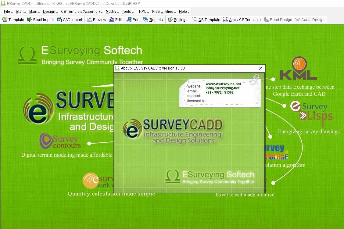 Working with ESurvey CADD 13.50 full license