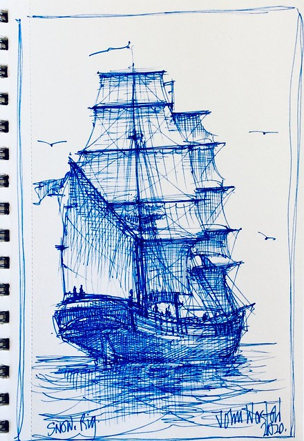 Pin sketch of Snow Rig Sailing ship, by jmsw. Ballpoint pen drawing.
