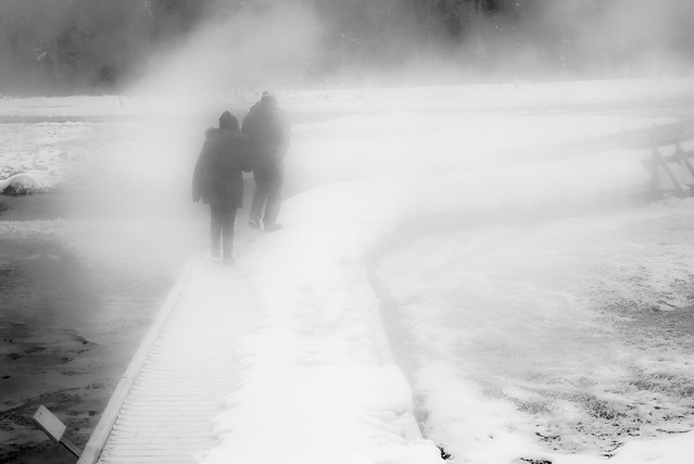 Walkers in the Fog and Snow