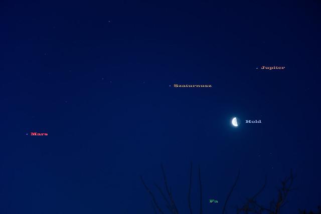 Együttállás: Mars - Szaturnusz - Jupiter - Hold