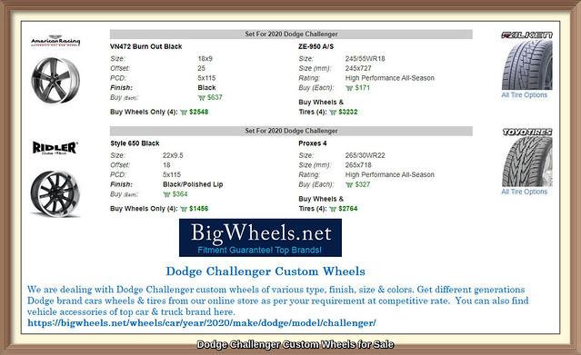 Dodge Challenger Custom Wheels for Sale