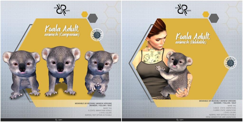 [Rezz Room] Koala Animesh (Holdable) and Koala Animesh (Companion)
