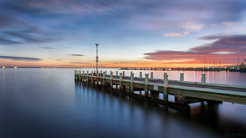 dawn nikond810 2470mm geelong waterfrontpier jetty autumn coriobay seascape shoreline australia wooden structure yacht club clouds