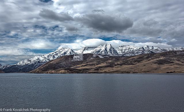 Jordanelle Reservoir near Heber City, Utah with a big storm coming in