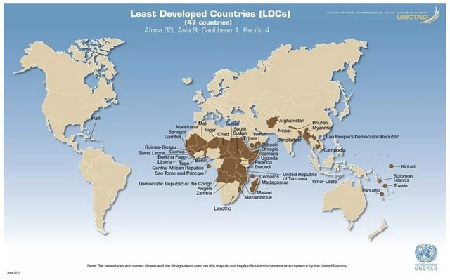The world's least developed countries (LDCs) according to the UN
