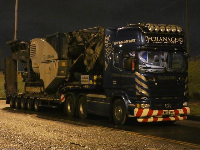 Scania Streamline R730 MX65 BFF Late 2015 Cranage Heavy Haulage Birch Eastside M62 UK