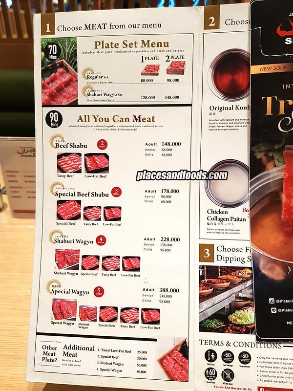 shaburi and kintan buffet bandung menu