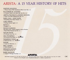 ARISTA: A 15 YEAR HISTORY OF HITS (Benefit Album)