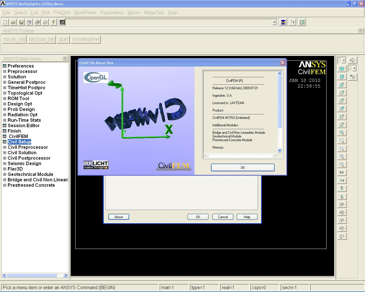 Working with CivilFEM v12.0 for ANSYS full license