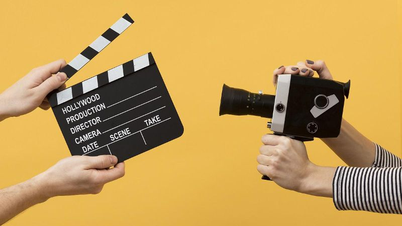 clapperboard and camera