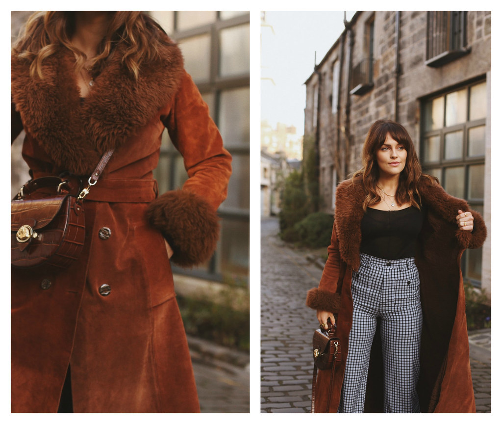 The Little Magpie Vintage suede coat with fur cuffs