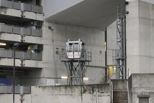 Gondola rescue training rig beneath the Airport Island angle station