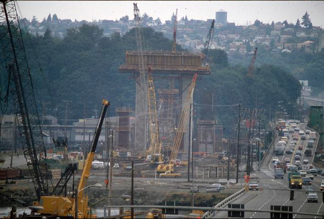 West Seattle Bridge construction, 1981