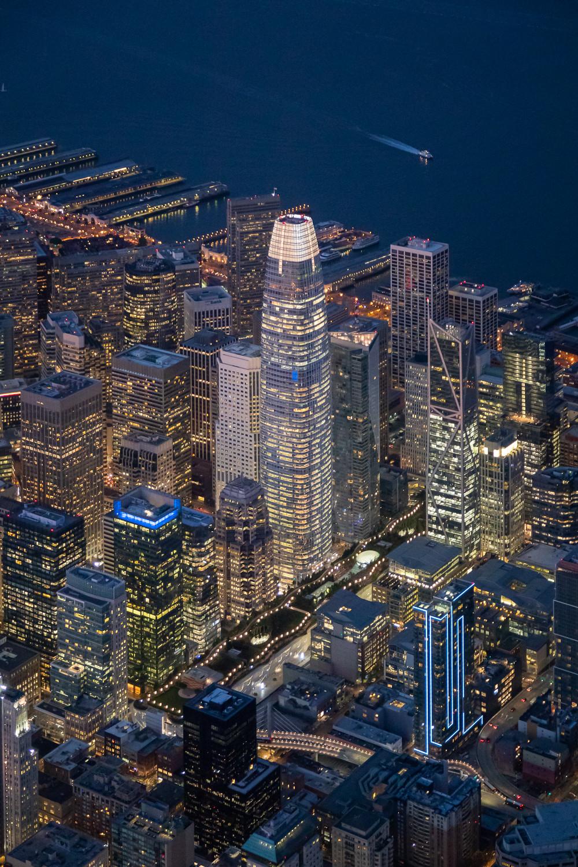 San Francisco 2020 Skyline Salseforce Aerial Night