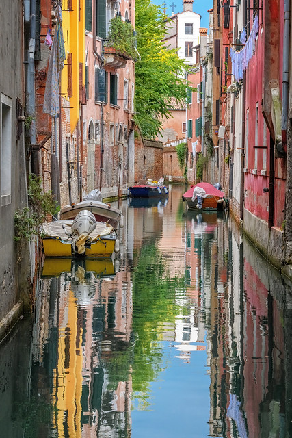 Colors reflecting in Venice Canal, Italy