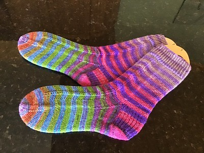 Patti took our last magic loop sock class and discovered she lives knitting socks!!Uneek yarn colour 54. Pattern- Heel Toe Do Si Do by Kaye Liston The Crazy Sock Lady.