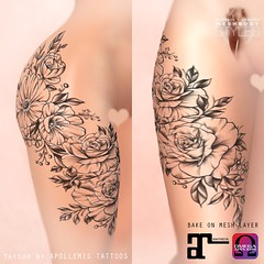 APOLLEMIS Tattoos Classy Roses Thighs & Hips Tattoo (R/L)