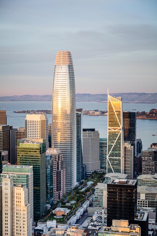 San Francisco 2020 Skyline Salseforce Aerial Sunset