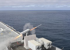 USS Makin Island (LHD 8) fires a rolling airframe missile in the eastern Pacific. (U.S. Navy/MC1 Harry Andrew D. Gordon)
