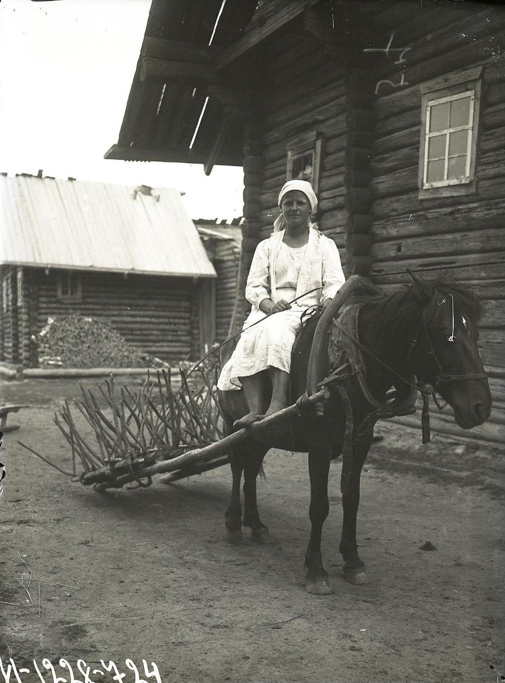 Женщина верхом на лошади, запряженной в борону