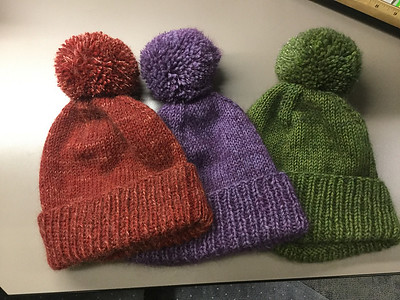 Nicole (mamaboj) knit these Classic Cuffed Hats by Purl Soho using Berroco Ultra Alpaca held double with Drops Kid Silk!