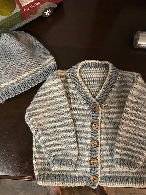Kathy (knotty64) knit this Striped Cardigan by Debbie Bliss
