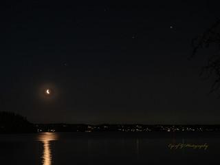 Moon, Mars, Jupiter and Saturn