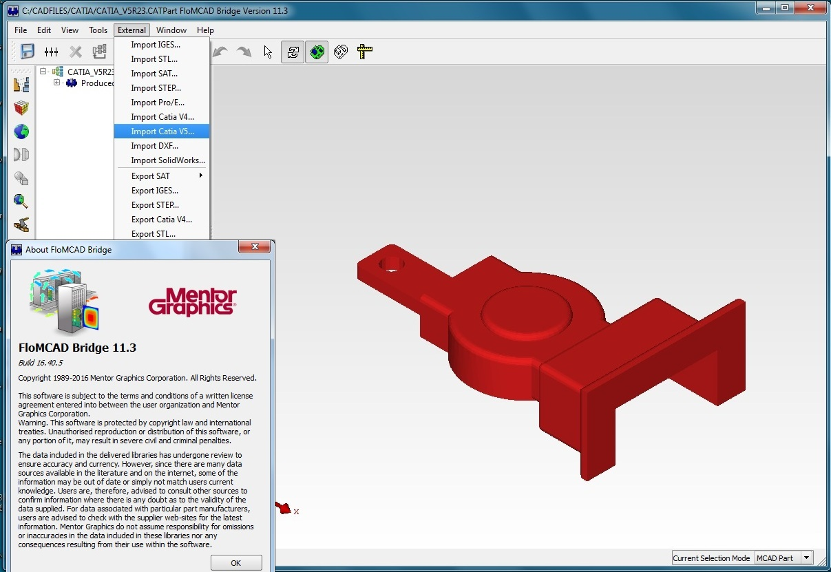 Working with Mentor Graphics FloMCAD 11.3 full license