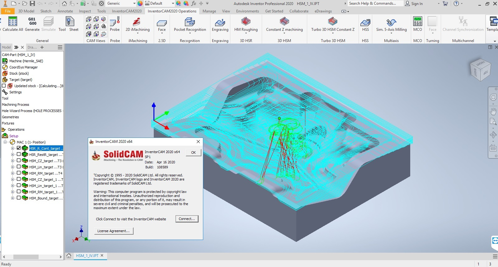 Working with InventorCAM 2020 SP1 for Autodesk Inventor 2018-2020 full license