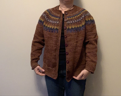 Finished! My Sirius sweater by Camilla Vad is off my needles! I modified it to steek for a cardigan!