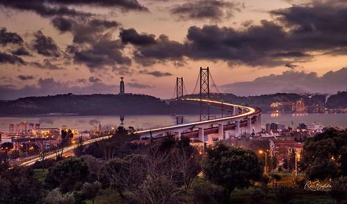 lisbon portugal bridge tagus river tagusriver sunrise bluehour landscape seascape aoi elitegalleryaoi bestcapturesaoi