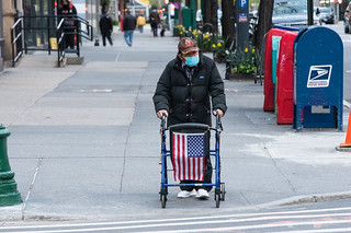 Man Displays American Flag On His Walker While Wearing Protective Face Mask In New York City COVID19 Quarantine | by Anthony Quintano