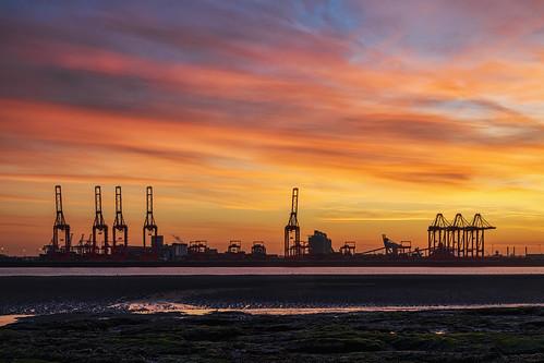merseyside england unitedkingdom liverpool2 port industrial sunrise crane rivermersey