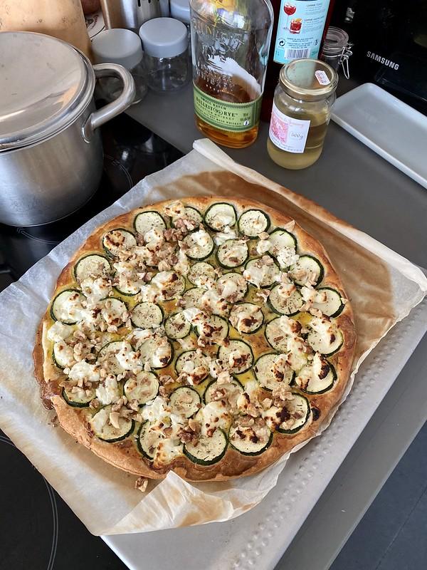 Zucchini and goat cheese tart