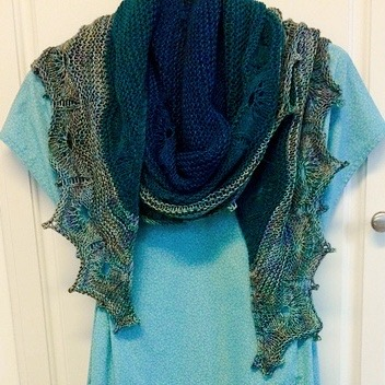 Kathy (chantrykathy) finished her Odyssey Shawl by Joji for the Malabrigo KAL using Dos Tierras
