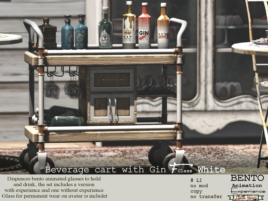 Beverage cart with gin