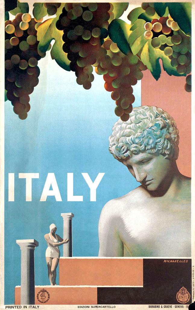 MICHAHELLES, Ruggero.  Italy travel poster, 1935.